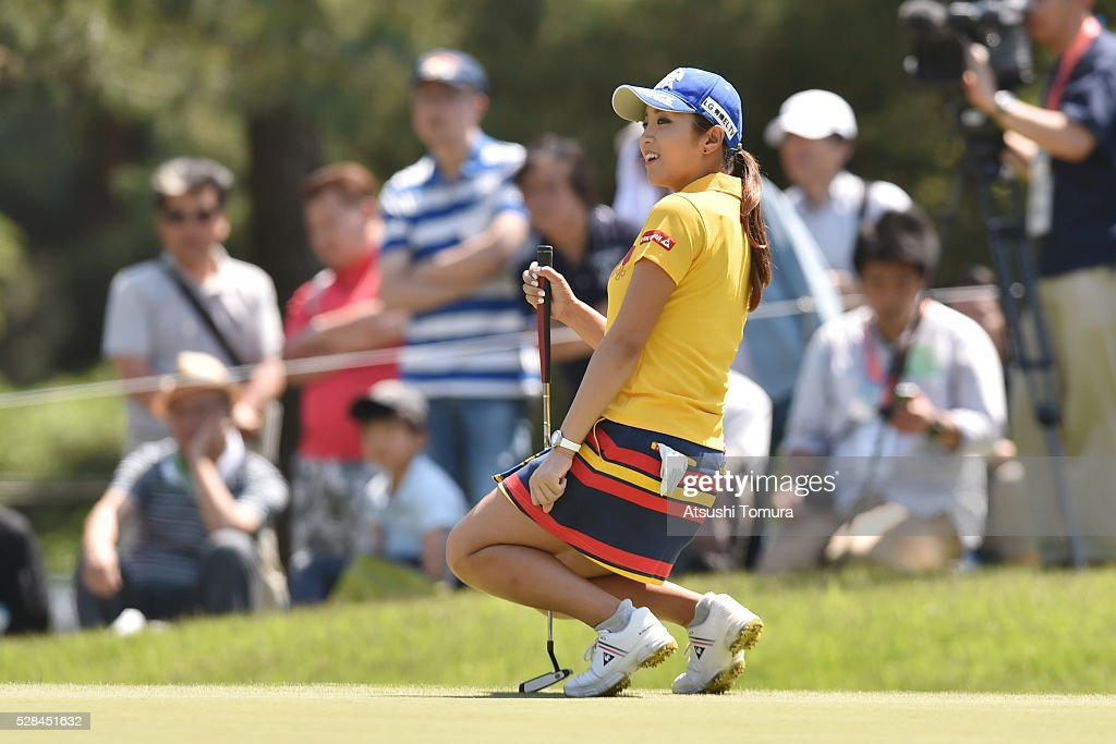 Erika Bo-Mee Lee of South Korea reacts during the first round of the World Ladies Championship Salonpas Cup at the Ibaraki Golf Club on May 5, 2016 in Tsukubamirai, Japan.