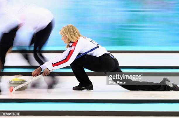 Erika Brown of United States compete during the Curling Women's Round Robin match between United States and Republic of Korea on day ten of the Sochi...
