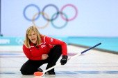Erika Brown of United states in action during Curling Women's Round Robin match between United States and Sweden on day eight of the Sochi 2014...