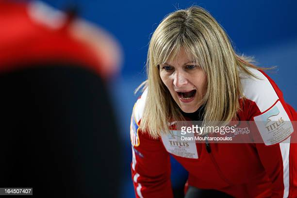 Erika Brown of USA screams instructions to team mates in the Bronze medal match between USA and Canada on Day 9 of the Titlis Glacier Mountain World...