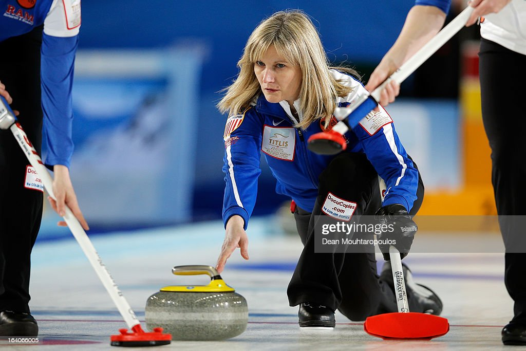 Erika Brown of USA throws the stone in the match between Japan and USA on Day 4 of the Titlis Glacier Mountain World Women's Curling Championship at the Volvo Sports Centre on March 19, 2013 in Riga, Latvia.