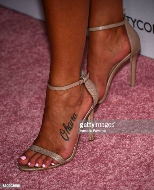Erika Costell shoe and tattoo detail attends the 5th Annual Beautycon Festival Los Angeles at the Los Angeles Convention Center on August 12 2017 in...