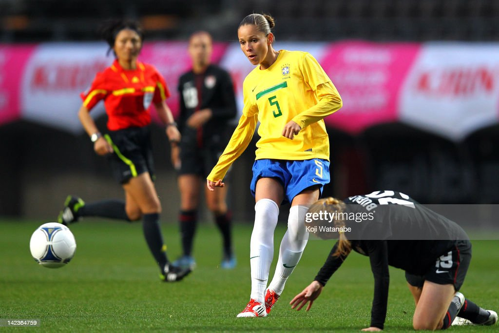 Erika Cristiano dos Santos of Brazil compete for the ball during the international friendly match between United States and Brazil at Fukuda Denshi...