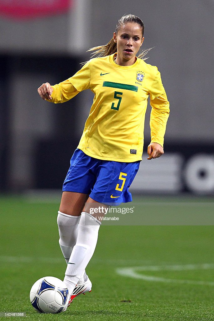 Erika Cristiano dos Santos of Brazil in action during the international friendly match between Japan and Brazil at Home's Stadium Kobe on April 5...