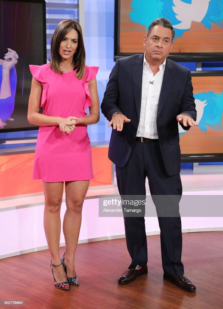 Erika Csiszer and Daniel Sarcos are seen on the set of 'Un Nuevo Dia' at Telemundo Studios on August 16, 2017 in Miami, Florida.