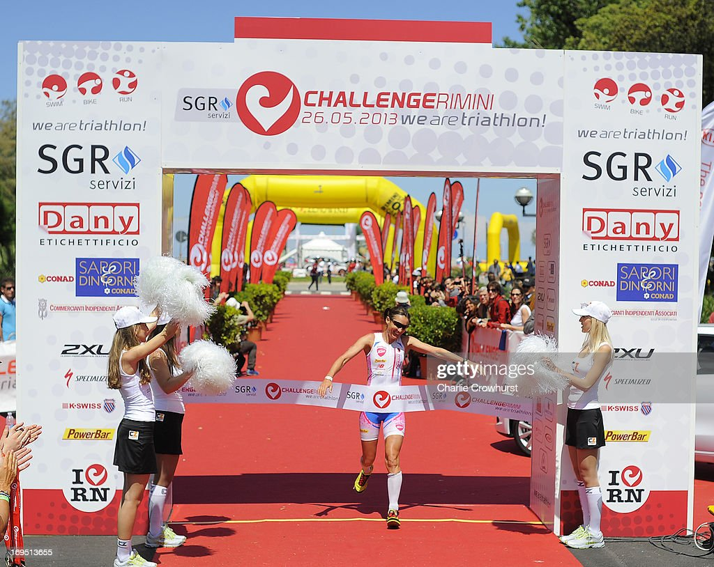 Erika Csomor of Hungary celebrates after winning the women's race during the Challenge Family Triathlon Rimini on May 26, 2013 in Rimini, Italy.