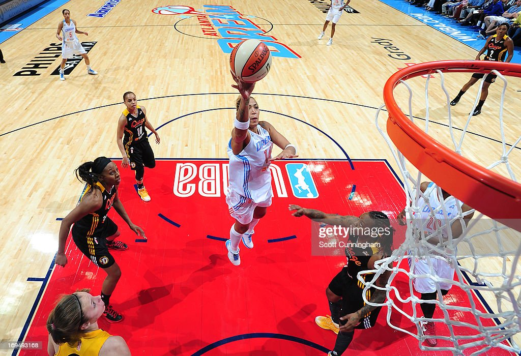 Erika de Souza #14 of the Atlanta Dream puts up a shot against the Tulsa Shock at Philips Arena on May 25, 2013 in Atlanta, Georgia.