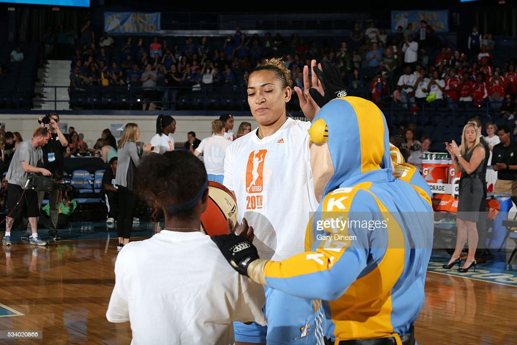 Erika de Souza #41 of the Chicago Sky gets introduced before the game against the Los Angeles Sparks on May 24, 2016 at the Allstate Arena in Chicago, Illinois.