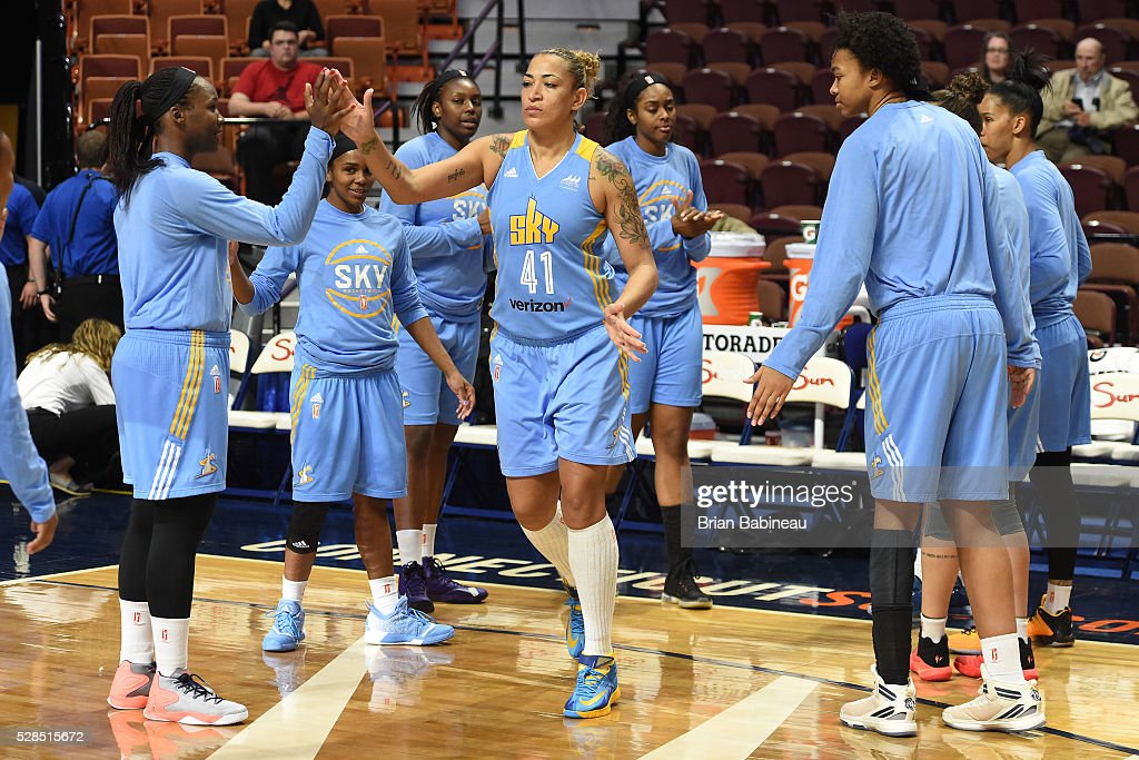 Erika de Souza #41 of the Chicago Sky is introduced before the game against the Atlanta Dream in a WNBA preseason game on May 5, 2016 at the Mohegan Sun Arena in Uncasville, Connecticut.