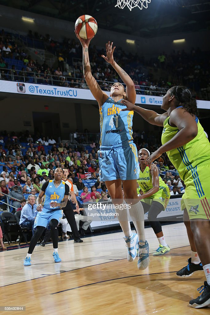Erika de Souza #41 of the Chicago Sky shoots the ball against the Dallas Wings on May 29, 2016 at College Park Center in Arlington, Texas.