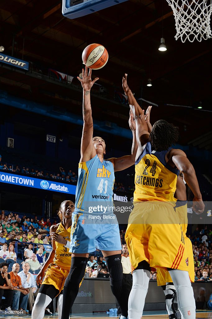 Erika de Souza #41 of the Chicago Sky shoots the ball against the Indiana Fever on June 29, 2016 at Allstate Arena in Rosemont, IL.