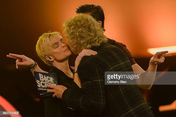 Erika Eleniak Thomas Gottschalk and Tom Beck attend the taping of 'Back To School Gottschalks grosses Klassentreffen' Show on January 23 2014 in...