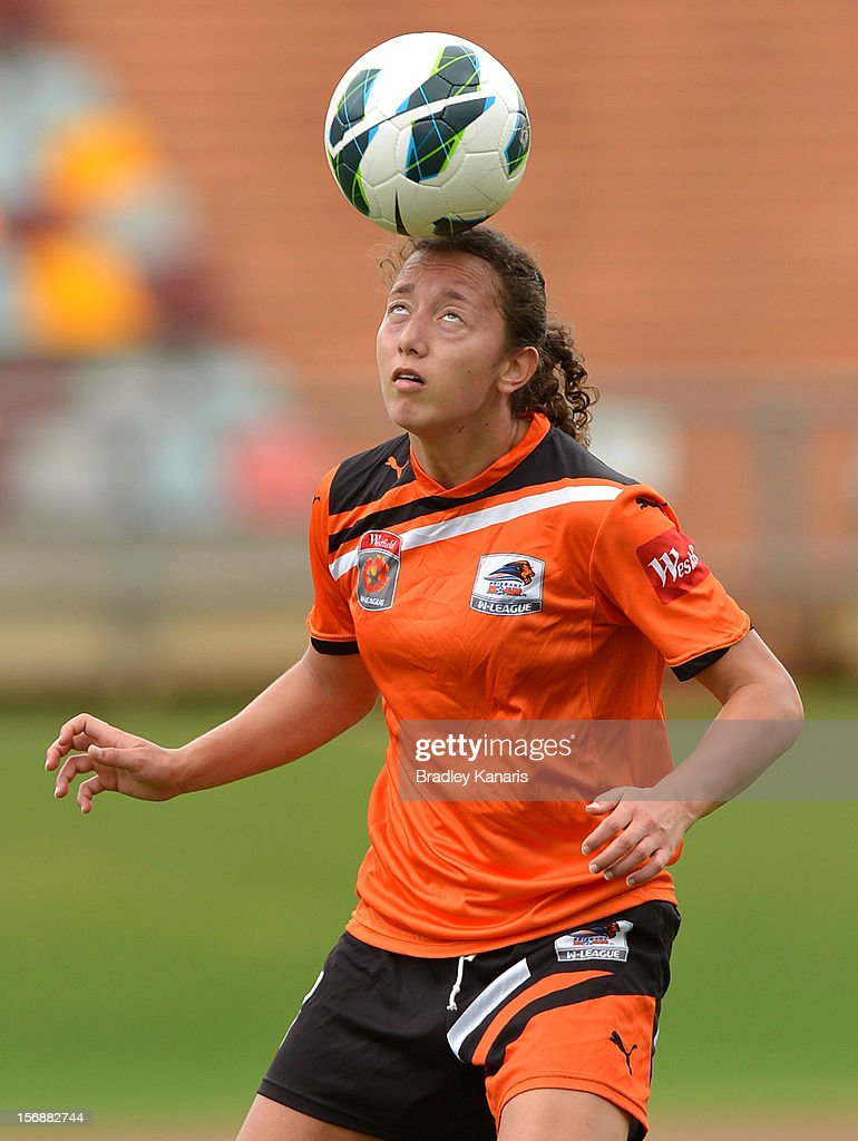 Erika Elze of the Roar heads the ball during the round six W-League match between the Brisbane Roar and the Melbourne Victory at the Queensland Sport and Athletics Centre on November 24, 2012 in Brisbane, Australia.