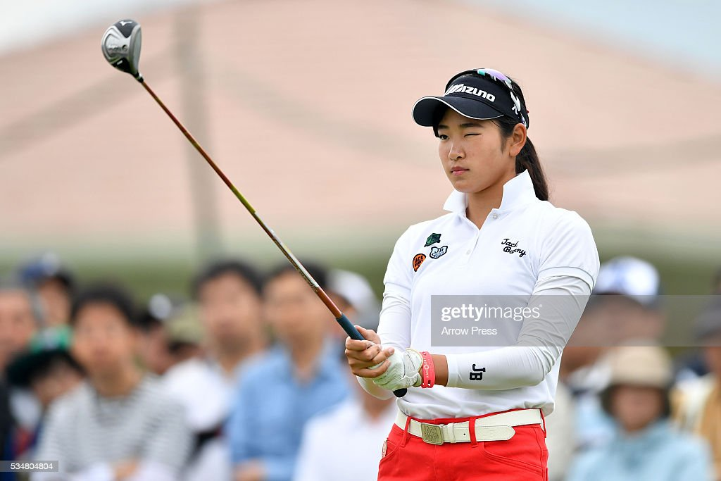 Erika Hara of Japan hits looks on the 1st hole during the second round of the Resorttrust Ladies at the Grandee Naruto Golf Club XIV on May 28, 2016 in Naruto, Japan.