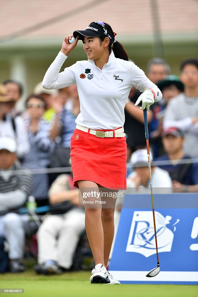Erika Hara of Japan hits smails the 1st hole during the second round of the Resorttrust Ladies at the Grandee Naruto Golf Club XIV on May 28, 2016 in Naruto, Japan.