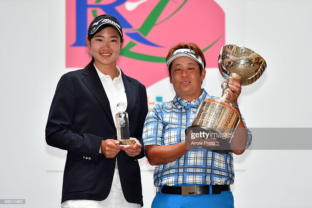 Erika Hara of Japan(L) <a gi-track='captionPersonalityLinkClicked' href=/galleries/search?phrase=Junko+Omote&family=editorial&specificpeople=7313653 ng-click='$event.stopPropagation()'>Junko Omote</a> of Japan (R) poses with the trophy after winning the during the Final round of the Resorttrust Ladies at the Grandee Naruto Golf Club XIV on May 29, 2016 in Naruto, Japan.