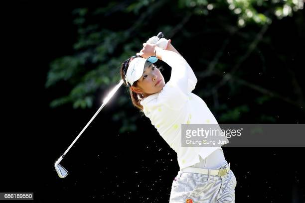 Erika Hara of Japan plays a tee shot on the 5th hole during the final round of the Chukyo Television Bridgestone Ladies Open at the Chukyo Golf Club...