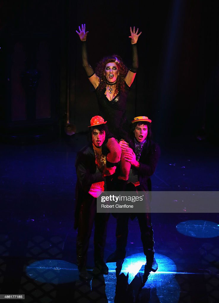 <a gi-track='captionPersonalityLinkClicked' href=/galleries/search?phrase=Erika+Heynatz&family=editorial&specificpeople=228143 ng-click='$event.stopPropagation()'>Erika Heynatz</a> performs as the character Magenta during a media call for the Rocky Horror Show at the Comedy Theatre on April 23, 2014 in Melbourne, Australia.