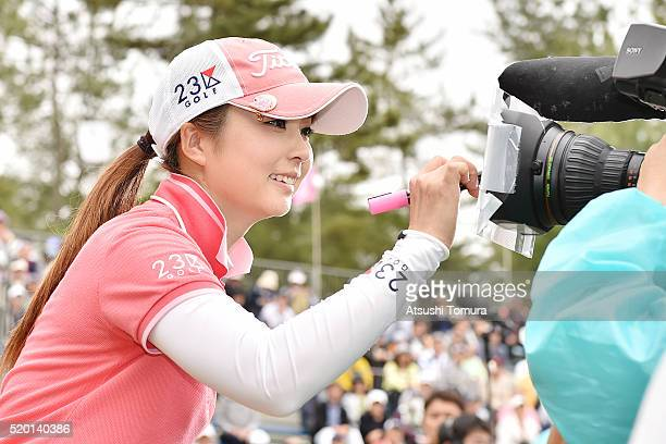 Erika Kikuchi of Japan after winning the Studio Alice Open at the Hanayashiki Golf Club Yokawa Course on April 10 2016 in Miki Japan