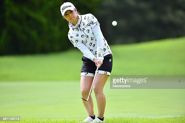 Erika Kikuchi of Japan chips onto the 13th green during the first round of the Century 21 Ladies Golf Tournament 2015 at the Izu Daijin Country Club...