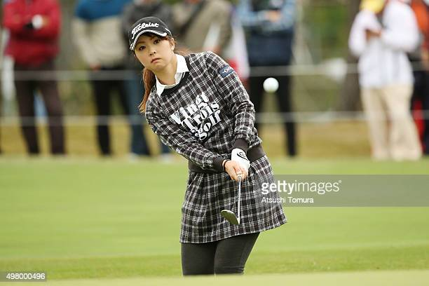 Erika Kikuchi of Japan chips onto the 18th green during the second round of the Daio Paper Elleair Ladies Open 2015 at the Itsuurateien Country Club...