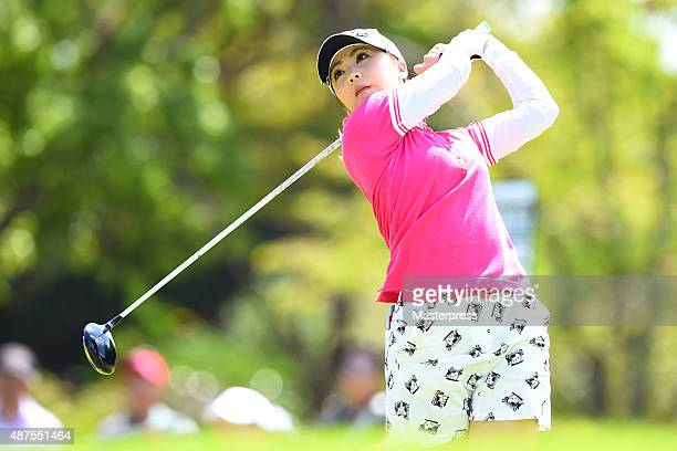 Erika Kikuchi of Japan hits her tee shot on the 11th hole during the first round of the 48th LPGA Championship Konica Minolta Cup 2015 at the Passage...