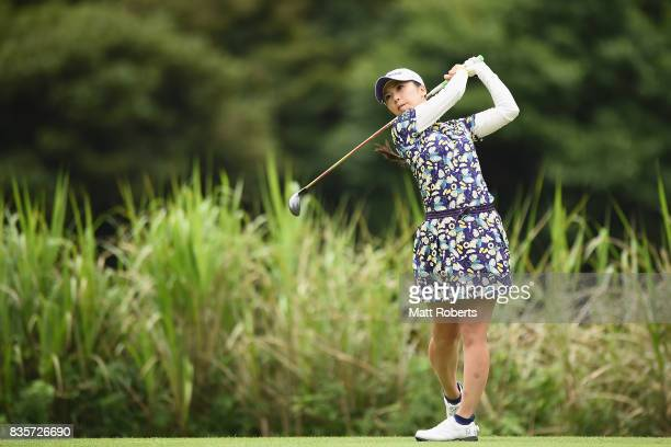 Erika Kikuchi of Japan hits her tee shot on the 12th hole during the final round of the CAT Ladies Golf Tournament HAKONE JAPAN 2017 at the Daihakone...