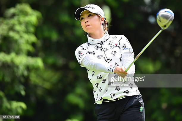 Erika Kikuchi of Japan hits her tee shot on the 14th hole during the first round of the Century 21 Ladies Golf Tournament 2015 at the Izu Daijin...