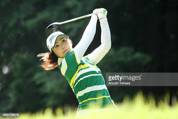 Erika Kikuchi of Japan hits her tee shot on the 2nd hole during the first round of the Golf 5 Ladies Tournament 2015 at the Mizunami Country Club on...