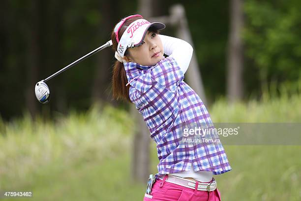 Erika Kikuchi of Japan hits her tee shot on the 3rd hole during the first round of the Yonex Ladies Golf Tournament 2015 at the Yonex Country Club on...