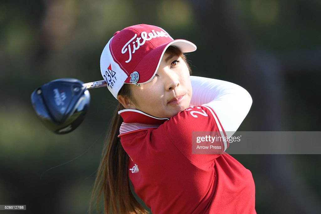 Erika Kikuchi of Japan hits her tee shot on the 7th hole during the first round of the World Ladies Championship Salonpas Cup at the Ibaraki Golf Club on May 5, 2016 in Tsukubamirai, Japan.