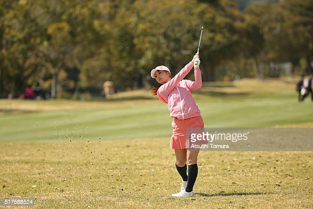Erika Kikuchi of Japan hits her third shot on the 18th hole during the second round of the AXA Ladies Golf Tournament at the UMK Country Club on...