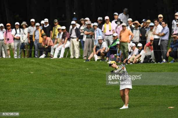 Erika Kikuchi of Japan hits her third shot on the 9th hole during the first round of the meiji Cup 2017 at the Sapporo Kokusai Country Club...