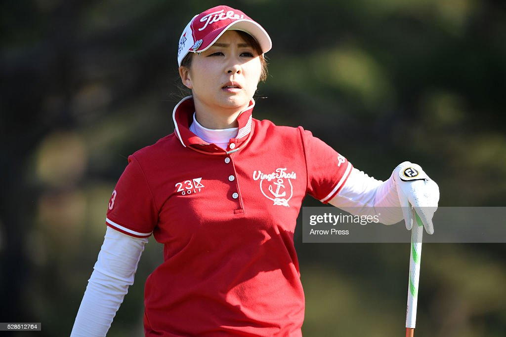 Erika Kikuchi of Japan looks on during the first round of the World Ladies Championship Salonpas Cup at the Ibaraki Golf Club on May 5, 2016 in Tsukubamirai, Japan.