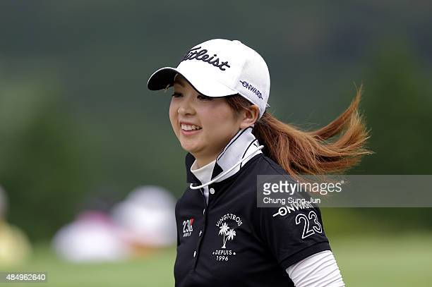 Erika Kikuchi of Japan on the fifth hole during the third round of the CAT Ladies Golf Tournament HAKONE JAPAN 2015 at the Daihakone Country Club on...