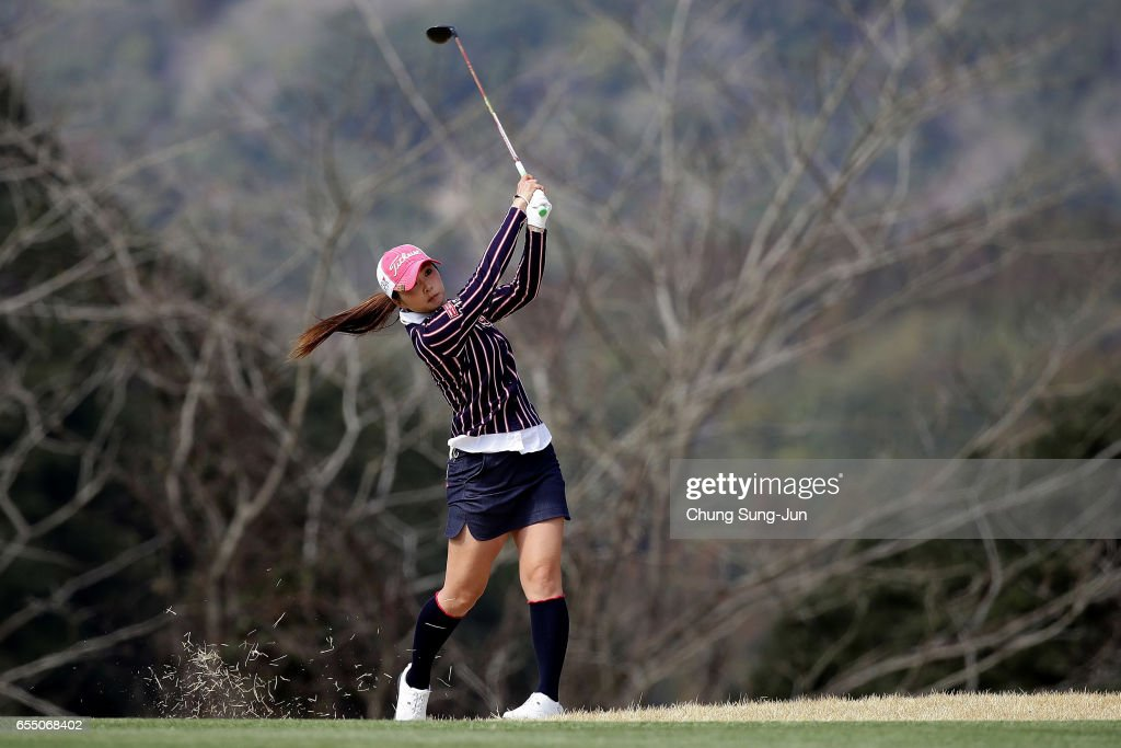 Erika Kikuchi of Japan plays a shot on the 16th hole during the T-Point Ladies Golf Tournament at the Wakagi Golf Club on March 19, 2017 in Aira, Japan.