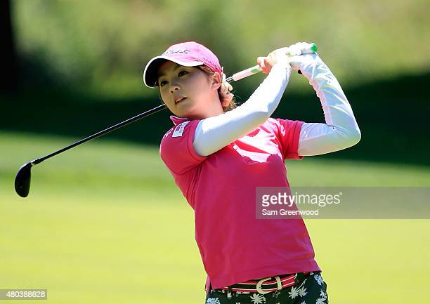 Erika Kikuchi of Japan plays a shot on the seventh hole during the third round of the US Women's Open at Lancaster Country Club on July 11 2015 in...