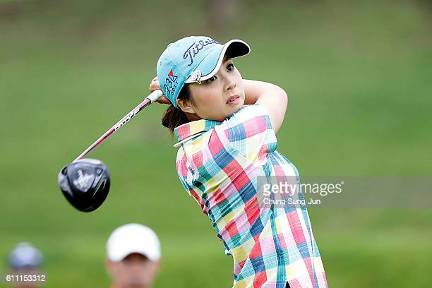 Erika Kikuchi of Japan plays a tee shot on the 12th hole during the first round of Japan Women's Open 2016 at the Karasumajo Country Culb on...