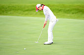 Erika KIkuchi of Japan putts on the 1st green during the final round of the Century 21 Ladies Golf Tournament 2016 at the Izu Daijin Country Club on...
