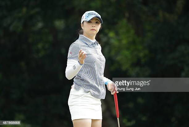 Erika Kikuchi of Japan reacts after a putt on the second green during the third round of the 48th LPGA Championship Konica Minolta Cup 2015 at the...