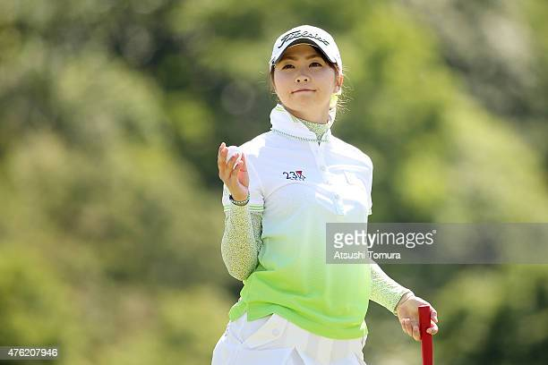 Erika Kikuchi of Japan reacts during the final round of the Yonex Ladies Golf Tournament 2015 at the Yonex Country Club on June 7 2015 in Nagaoka...