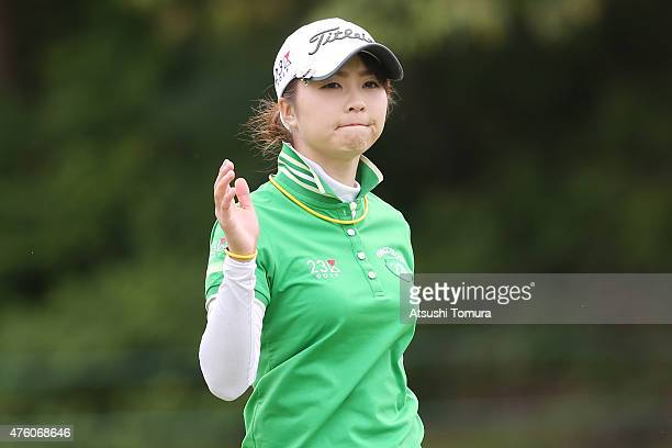 Erika Kikuchi of Japan reacts during the second round of the Yonex Ladies Golf Tournament 2015 at the Yonex Country Club on June 6 2015 in Nagaoka...