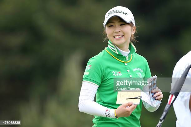 Erika Kikuchi of Japan smiles during the second round of the Yonex Ladies Golf Tournament 2015 at the Yonex Country Club on June 6 2015 in Nagaoka...