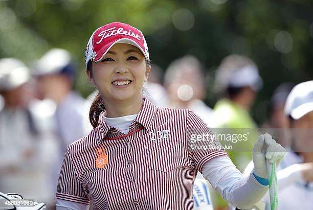 Erika Kikuchi of Japan smiles on the third hole during the final round of the 48th LPGA Championship Konica Minolta Cup 2015 at the Passage Kinkai...