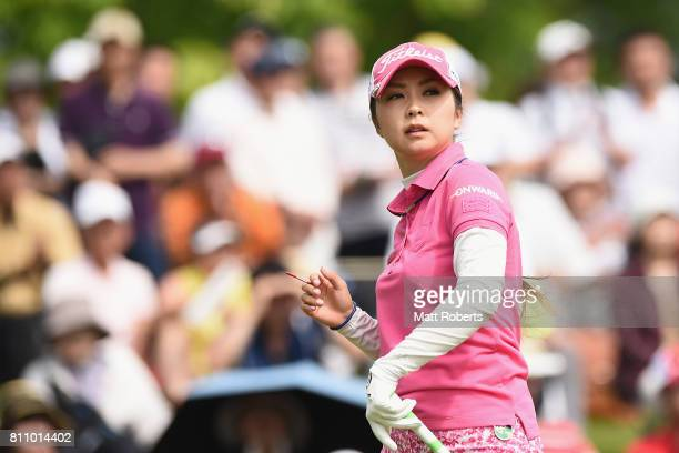 Erika Kikuchi of Japan watches her tee shot on the 1st hole during the final round of the Nipponham Ladies Classics at the Ambix Hakodate Club on...