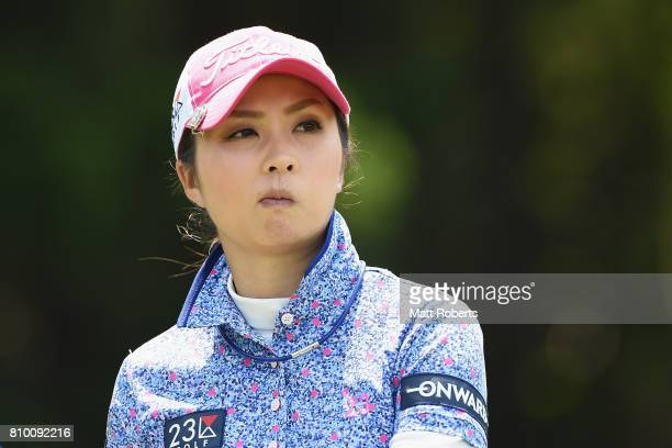 Erika Kikuchi of Japan watches her tee shot on the 7th hole during the first round of the Nipponham Ladies Classics at the Ambix Hakodate Club on...