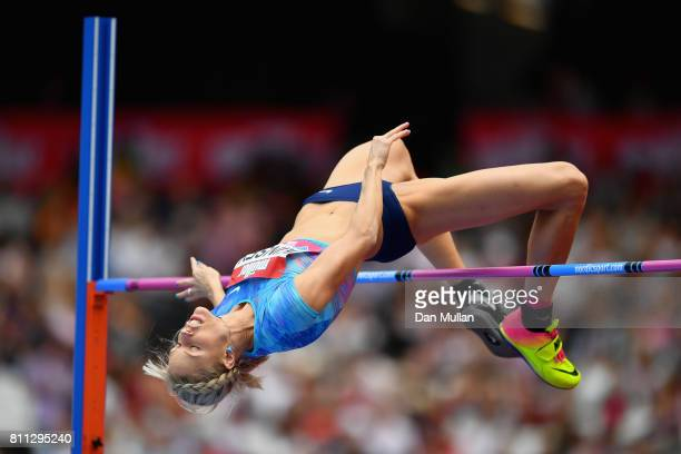 Erika Kinsey of Sweden competes in the Women's High Jump during the Muller Anniversary Games at London Stadium on July 9 2017 in London England