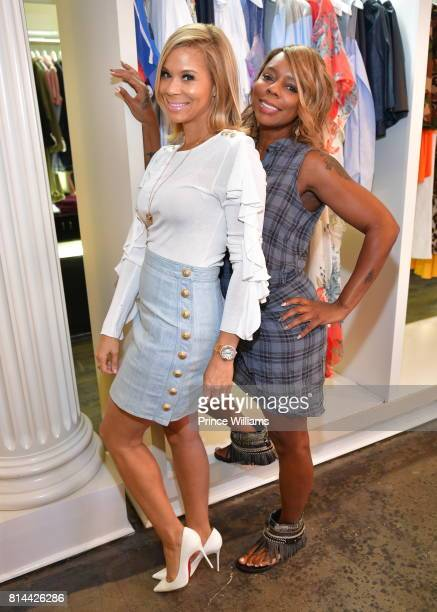 Erika Liles and Teresa Caldwell attend EveryHue PopUp Shop at Swagg Boutique on July 13 2017 in Atlanta Georgia