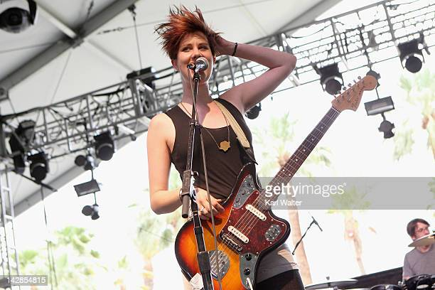 Erika M Anderson of the band EMA performs onstage at the 2012 Coachella Valley Music Arts Festival held at The Empire Polo Field on April 13 2012 in...