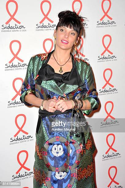 Erika Moulet attends the Sidaction 2016 Launch party photocall at Musee du Quai Branly on March 7 2016 in Paris France